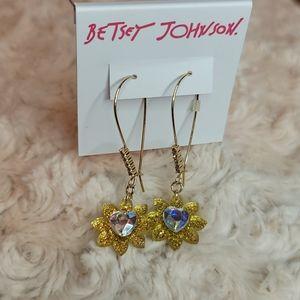 Betsey Johnson Crystal Heart Flower Hook Earrings